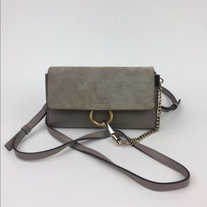 CHLOÉ Mini Faye Suede & Leather Wallet on a strap